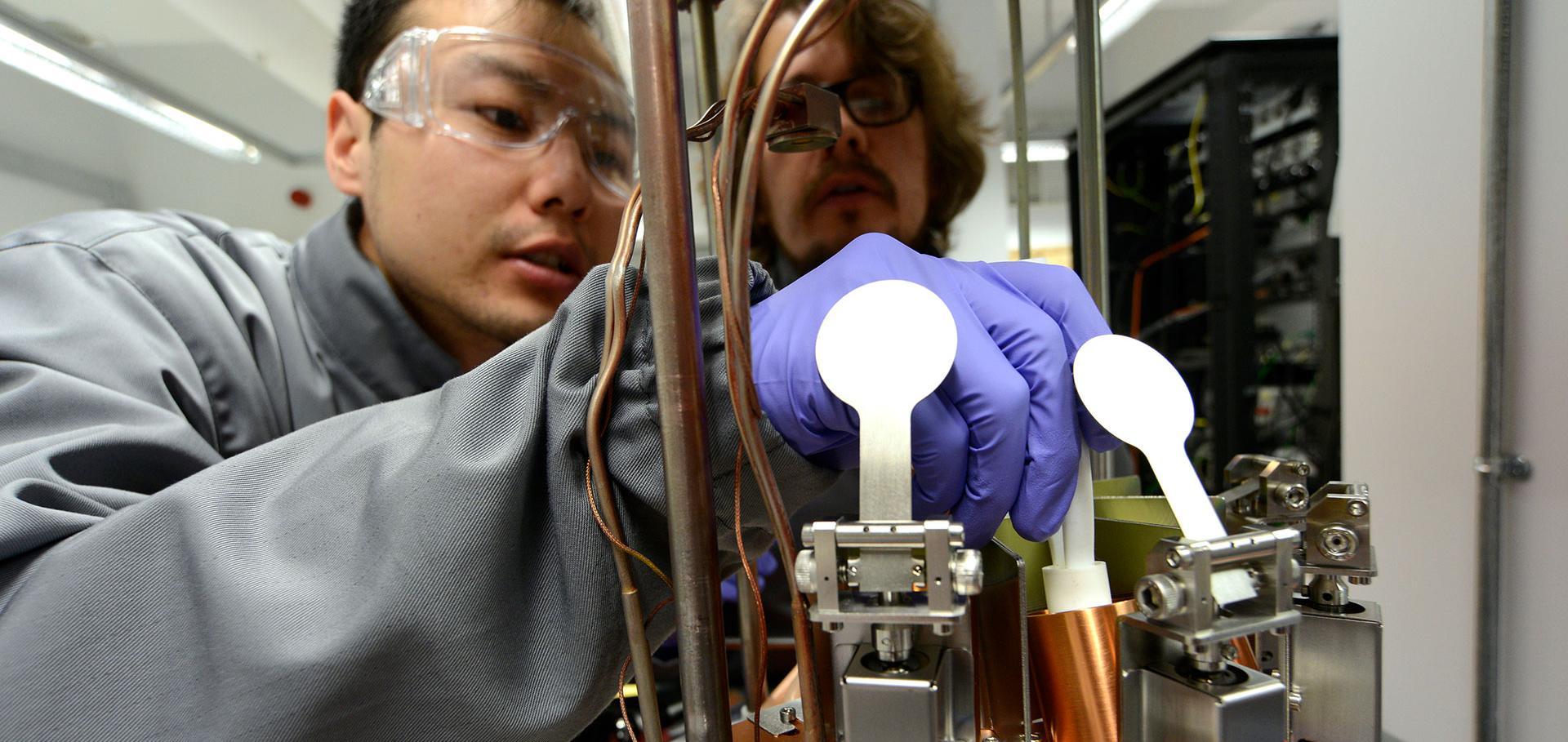 Man with scientific instruments