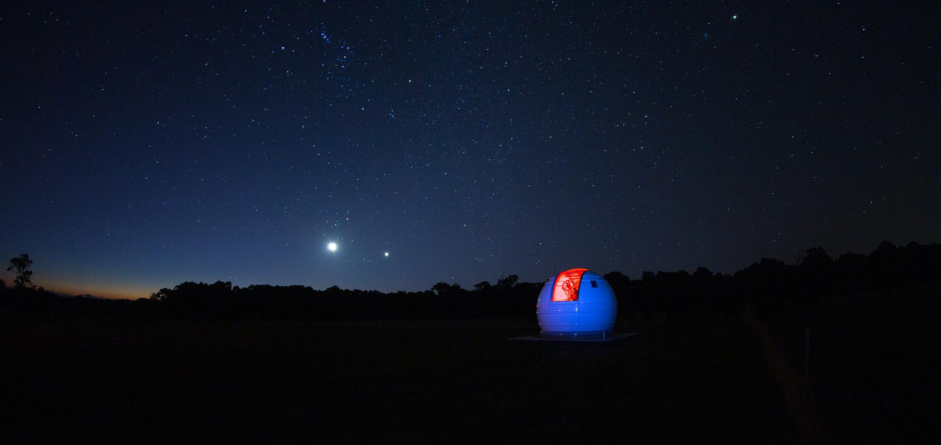 A Global Jet Watch observatory looks out on the night sky.