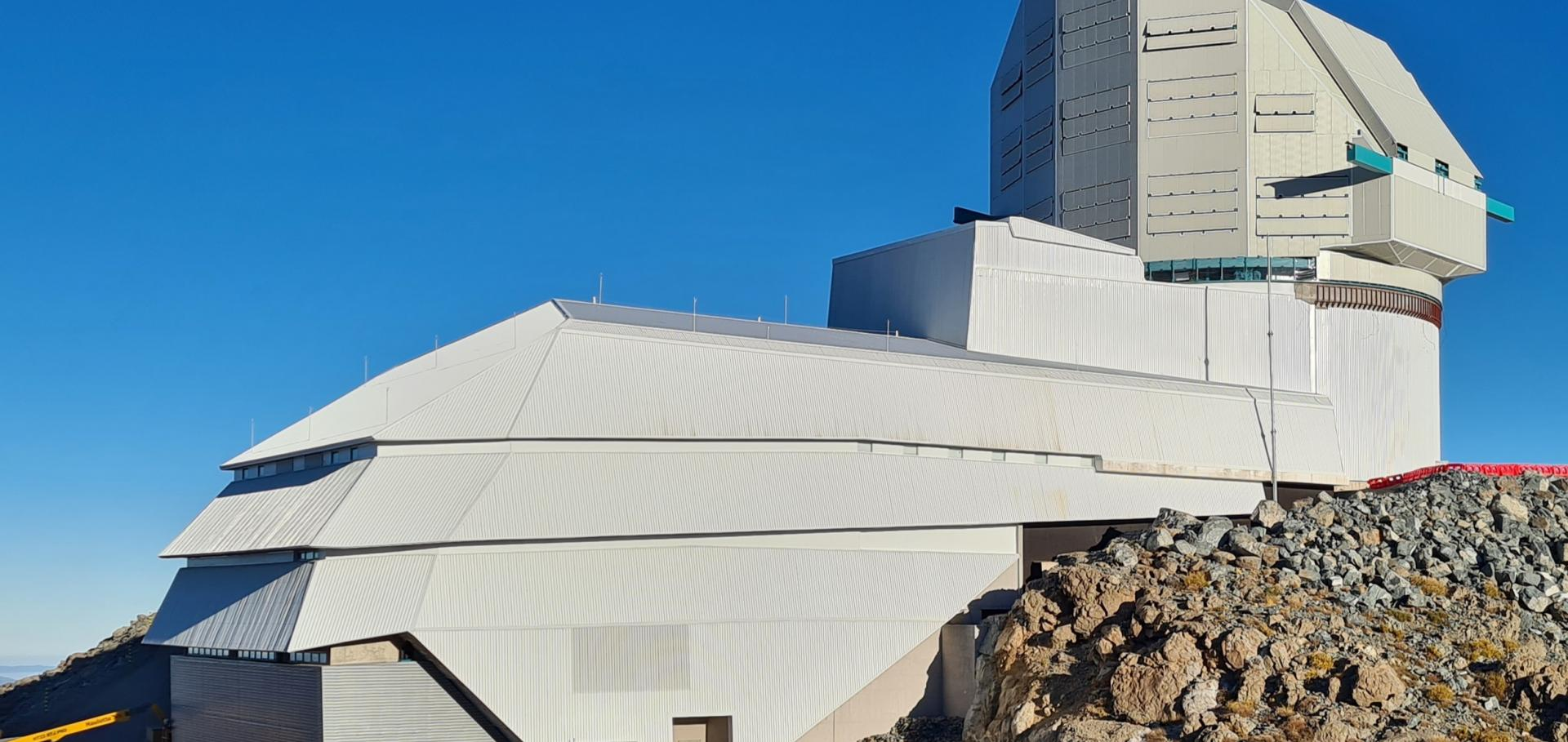 Drone photos of the Rubin Observatory summit facility (provided by Dome Surveyor, Oscar Rivera) show advancement to near 100% on dome cladding completion as well as closure of the louvers, rear door, and shutters