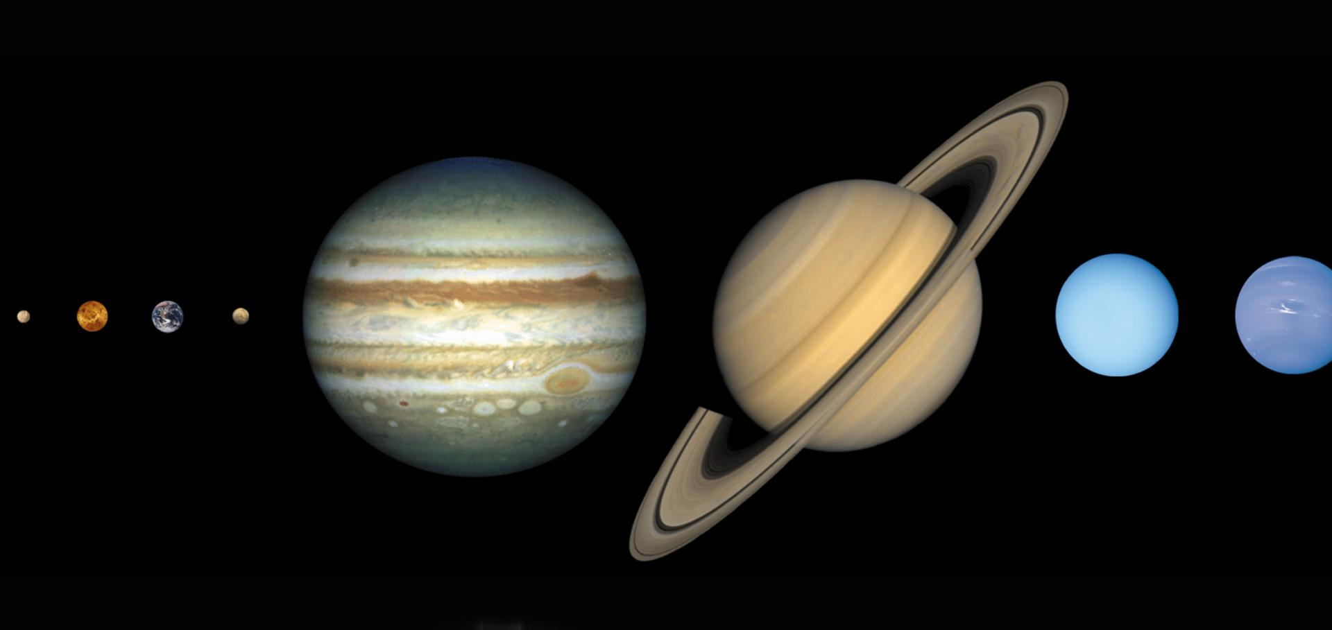 Solar System shown with the planets shown in approximately the right size relative to one another.