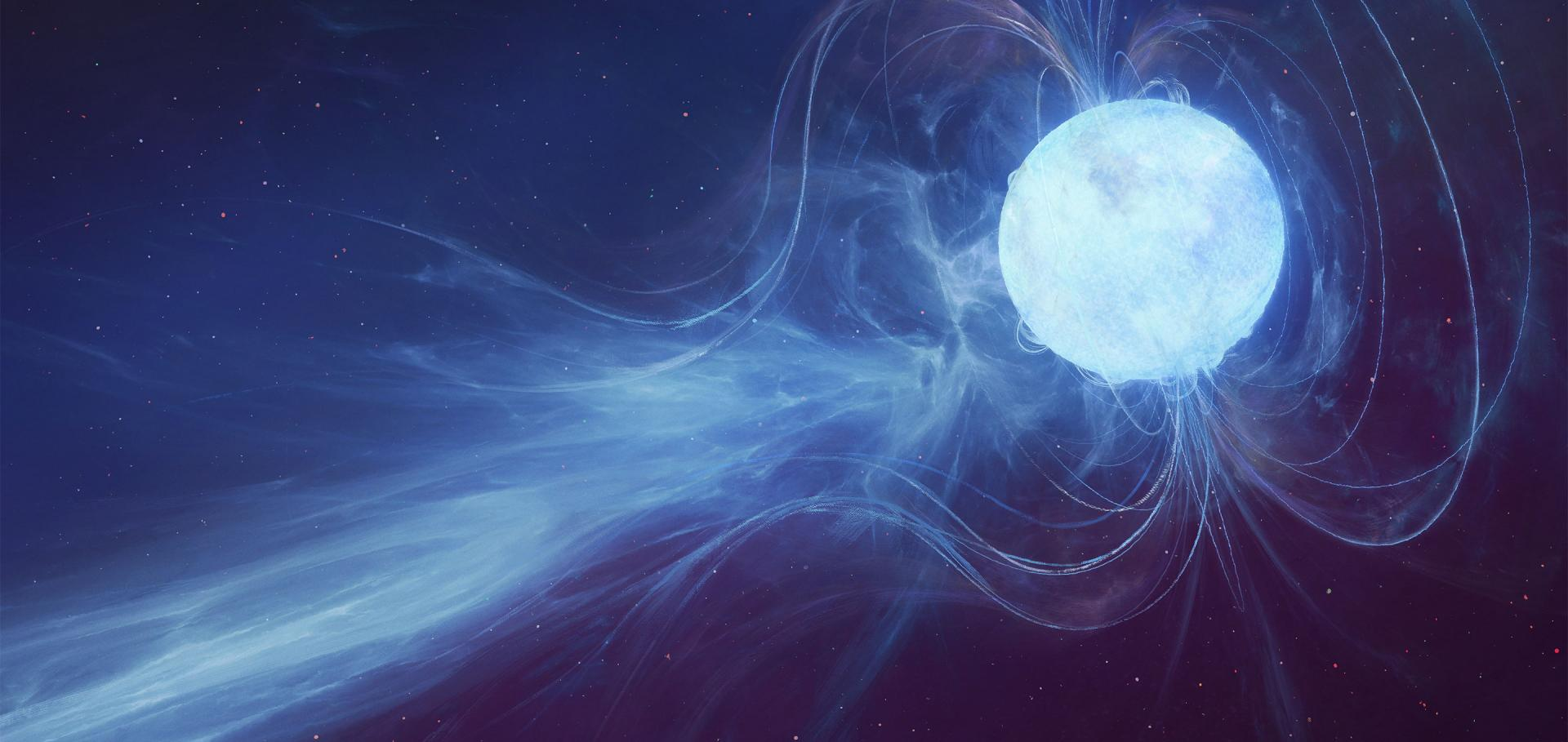Artist's impression of a Fast Radio Burst coming from a Neutron Star.