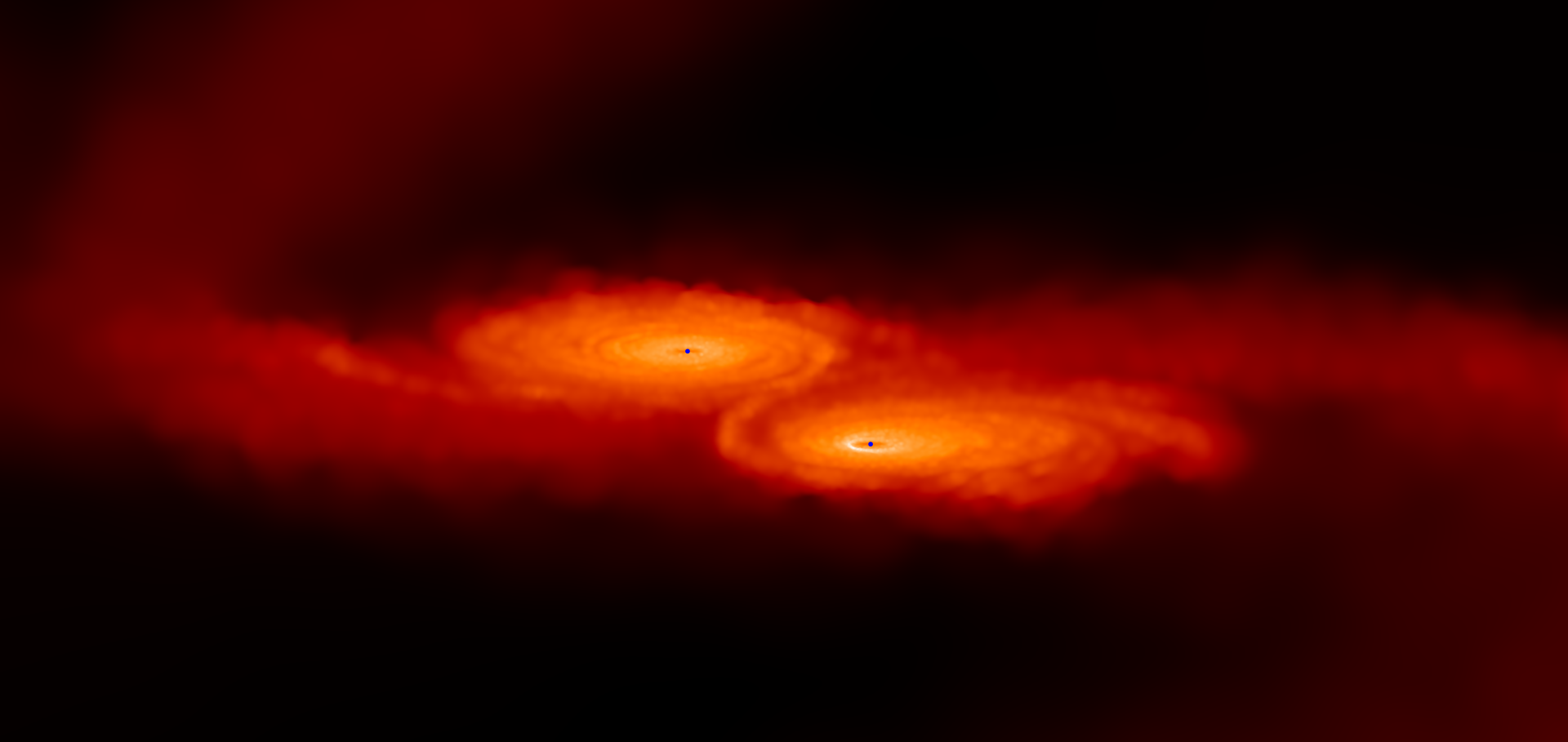 Snapshot of a simulation of two merging supermassive black holes