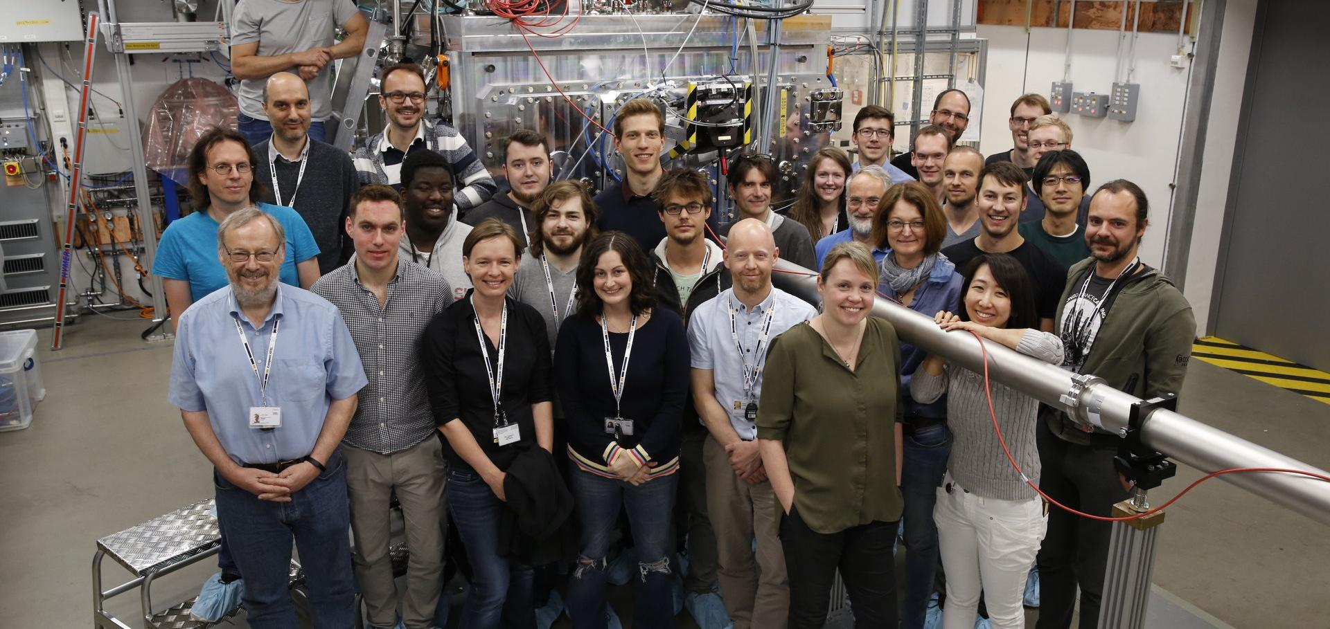 Experimental team at the commissioning experiment of the HED station of the European XFEL.