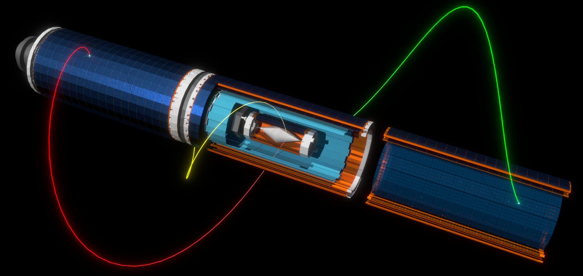 A diagram of the Mu3e Detectors showing a simulated muon to 3 electron decay