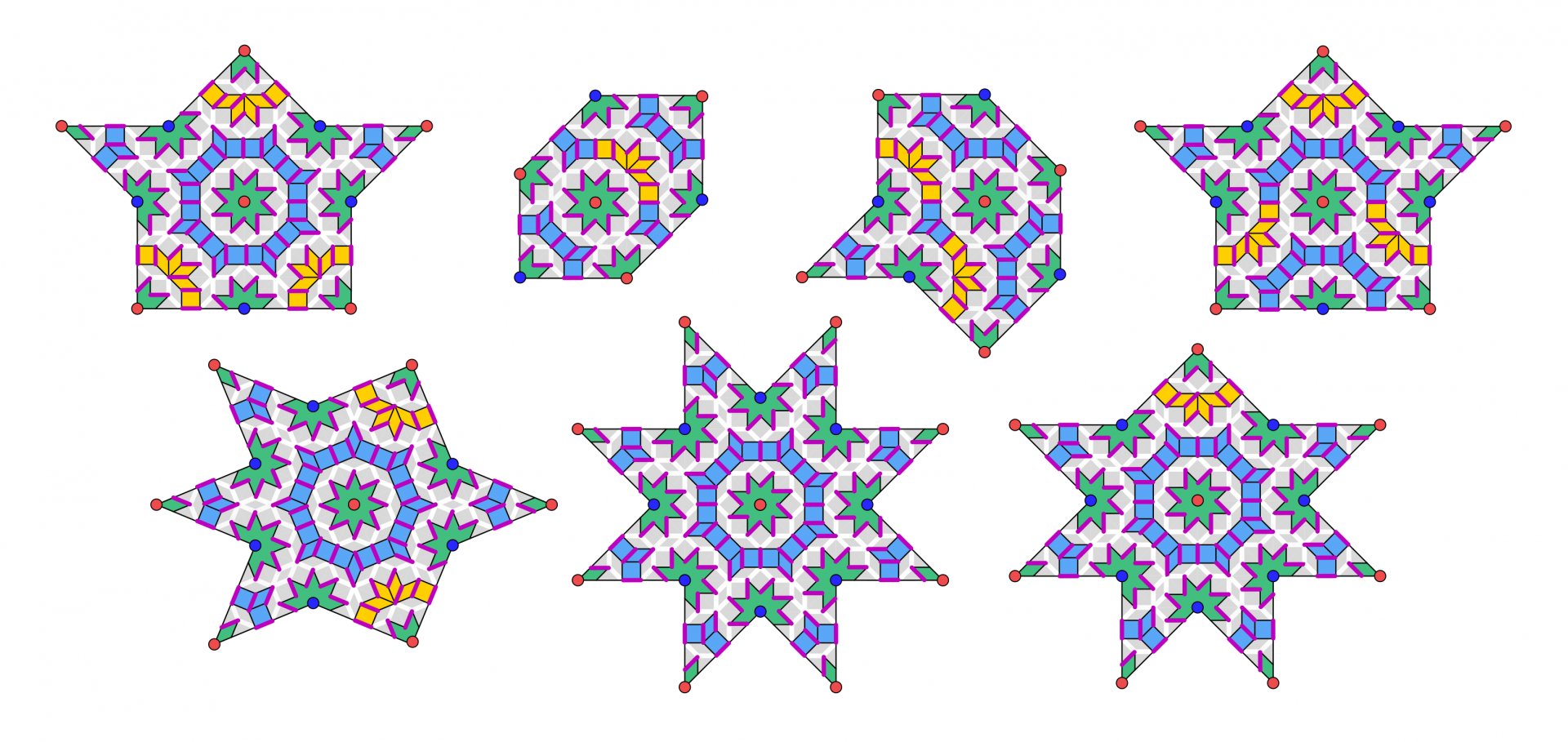 Images of dimers on quasiperiodic Amman-Beenker tiling.