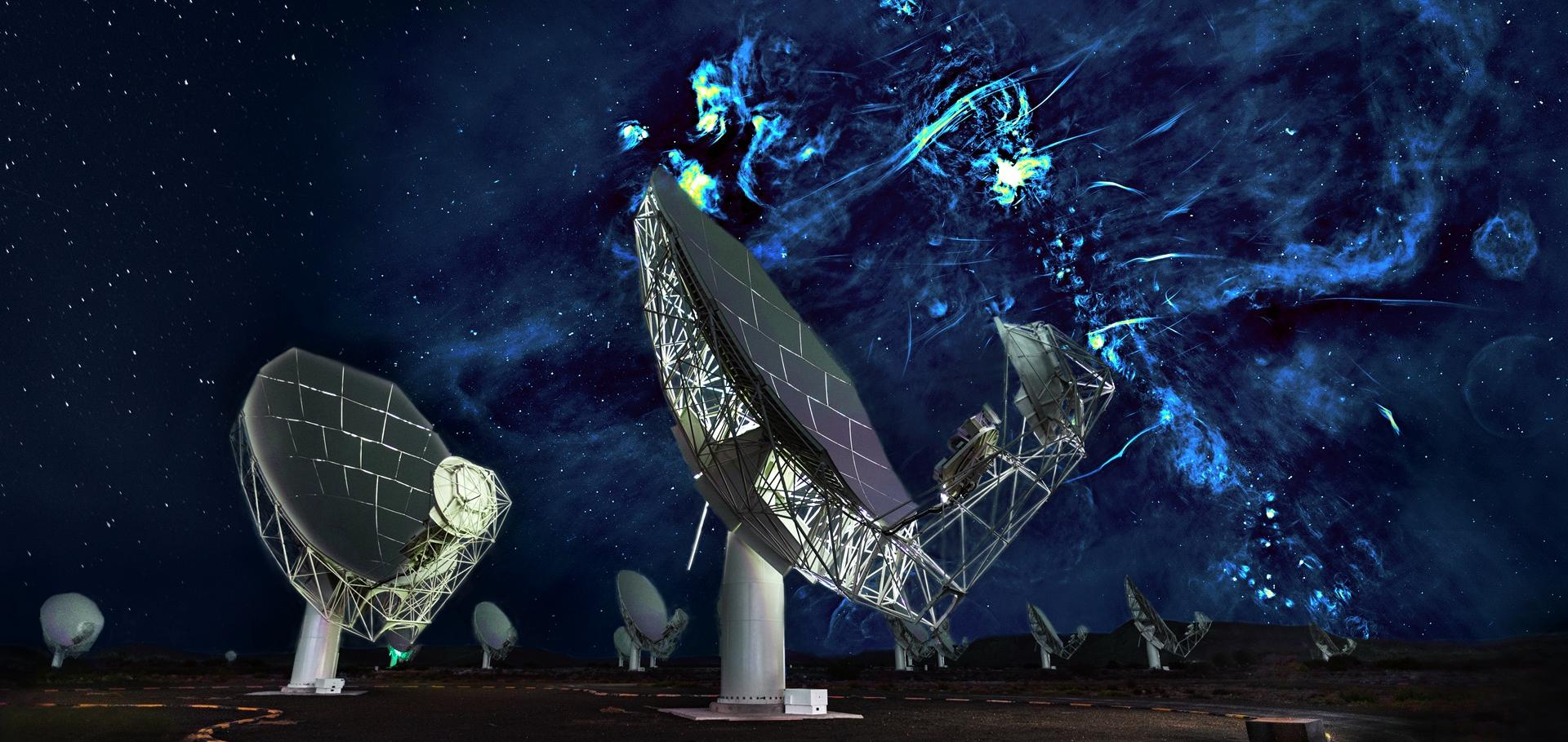 MeerKAT antennas against a backdrop of the Galactic Centre radio bubbles